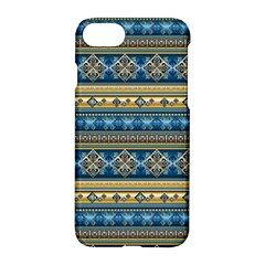 Vintage Border Wallpaper Pattern Blue Gold Apple Iphone 7 Hardshell Case by EDDArt