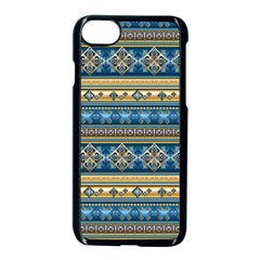 Vintage Border Wallpaper Pattern Blue Gold Apple Iphone 7 Seamless Case (black) by EDDArt
