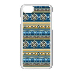 Vintage Border Wallpaper Pattern Blue Gold Apple Iphone 7 Seamless Case (white) by EDDArt