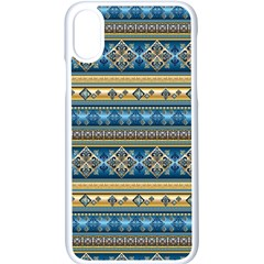 Vintage Border Wallpaper Pattern Blue Gold Apple Iphone X Seamless Case (white) by EDDArt