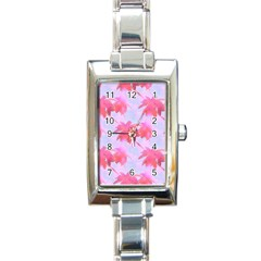 Palm Trees Paradise Pink Pastel Rectangle Italian Charm Watch by CrypticFragmentsColors