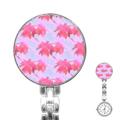 Palm Trees Paradise Pink Pastel Stainless Steel Nurses Watch by CrypticFragmentsColors