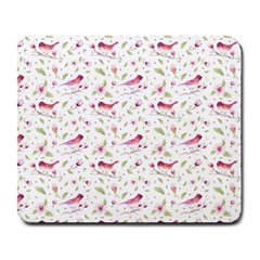 Watercolor Birds Magnolia Spring Pattern Large Mousepads by EDDArt