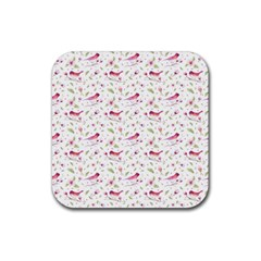 Watercolor Birds Magnolia Spring Pattern Rubber Coaster (square)  by EDDArt