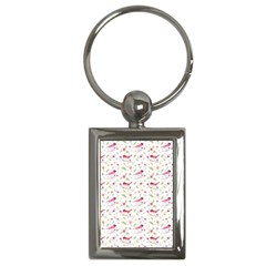 Watercolor Birds Magnolia Spring Pattern Key Chains (rectangle)  by EDDArt