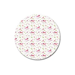 Watercolor Birds Magnolia Spring Pattern Magnet 3  (round) by EDDArt