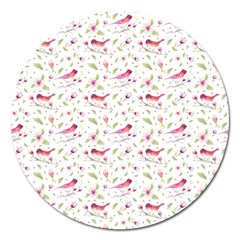 Watercolor Birds Magnolia Spring Pattern Magnet 5  (round) by EDDArt