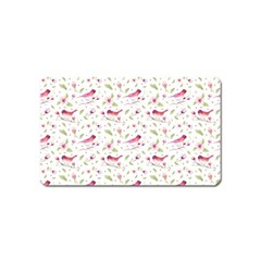 Watercolor Birds Magnolia Spring Pattern Magnet (name Card) by EDDArt