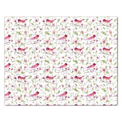 Watercolor Birds Magnolia Spring Pattern Rectangular Jigsaw Puzzl by EDDArt