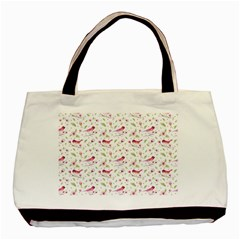 Watercolor Birds Magnolia Spring Pattern Basic Tote Bag by EDDArt