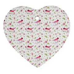 Watercolor Birds Magnolia Spring Pattern Heart Ornament (two Sides) by EDDArt
