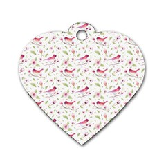 Watercolor Birds Magnolia Spring Pattern Dog Tag Heart (one Side) by EDDArt