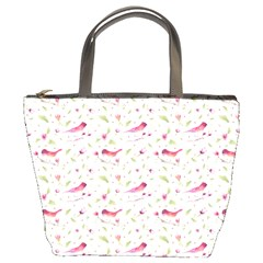 Watercolor Birds Magnolia Spring Pattern Bucket Bags by EDDArt