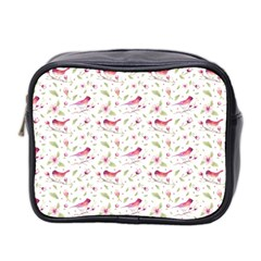 Watercolor Birds Magnolia Spring Pattern Mini Toiletries Bag 2 Side by EDDArt