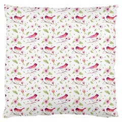 Watercolor Birds Magnolia Spring Pattern Large Cushion Case (one Side) by EDDArt