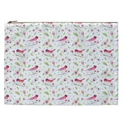 Watercolor Birds Magnolia Spring Pattern Cosmetic Bag (xxl) by EDDArt