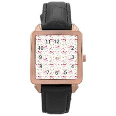 Watercolor Birds Magnolia Spring Pattern Rose Gold Leather Watch  by EDDArt