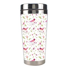 Watercolor Birds Magnolia Spring Pattern Stainless Steel Travel Tumblers by EDDArt