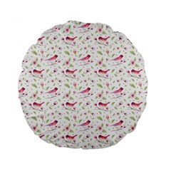 Watercolor Birds Magnolia Spring Pattern Standard 15  Premium Flano Round Cushions by EDDArt
