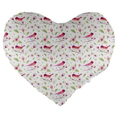 Watercolor Birds Magnolia Spring Pattern Large 19  Premium Flano Heart Shape Cushions by EDDArt