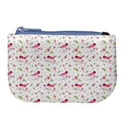 Watercolor Birds Magnolia Spring Pattern Large Coin Purse by EDDArt