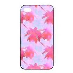 Palm Trees Paradise Pink Pastel Apple Iphone 4/4s Seamless Case (black) by CrypticFragmentsColors
