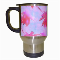 Palm Trees Paradise Pink Pastel Travel Mugs (white) by CrypticFragmentsColors