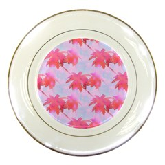 Palm Trees Paradise Pink Pastel Porcelain Plates by CrypticFragmentsColors