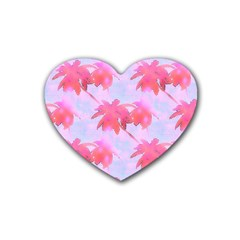 Palm Trees Paradise Pink Pastel Heart Coaster (4 Pack)  by CrypticFragmentsColors