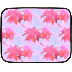 Palm Trees Paradise Pink Pastel Fleece Blanket (mini) by CrypticFragmentsColors
