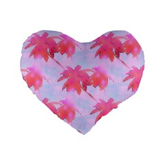 Palm Trees Paradise Pink Pastel Standard 16  Premium Heart Shape Cushions by CrypticFragmentsColors