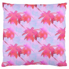 Palm Trees Paradise Pink Pastel Large Flano Cushion Case (one Side) by CrypticFragmentsColors