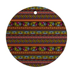 Traditional Africa Border Wallpaper Pattern Colored 2 Ornament (round) by EDDArt