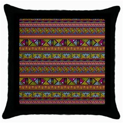 Traditional Africa Border Wallpaper Pattern Colored 2 Throw Pillow Case (black) by EDDArt
