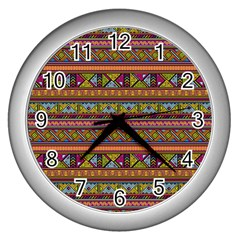 Traditional Africa Border Wallpaper Pattern Colored 2 Wall Clock (silver) by EDDArt