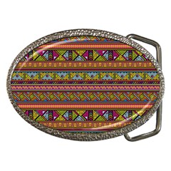 Traditional Africa Border Wallpaper Pattern Colored 2 Belt Buckles by EDDArt