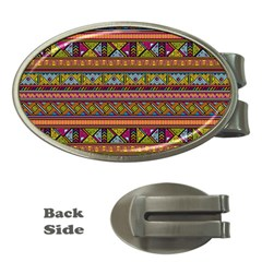 Traditional Africa Border Wallpaper Pattern Colored 2 Money Clips (oval)  by EDDArt