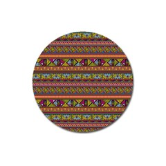 Traditional Africa Border Wallpaper Pattern Colored 2 Magnet 3  (round) by EDDArt