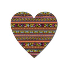 Traditional Africa Border Wallpaper Pattern Colored 2 Heart Magnet by EDDArt