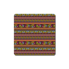 Traditional Africa Border Wallpaper Pattern Colored 2 Square Magnet by EDDArt