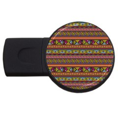 Traditional Africa Border Wallpaper Pattern Colored 2 Usb Flash Drive Round (2 Gb) by EDDArt