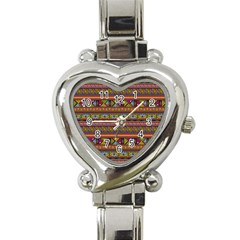 Traditional Africa Border Wallpaper Pattern Colored 2 Heart Italian Charm Watch by EDDArt