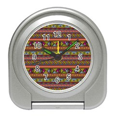 Traditional Africa Border Wallpaper Pattern Colored 2 Travel Alarm Clock by EDDArt