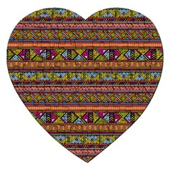 Traditional Africa Border Wallpaper Pattern Colored 2 Jigsaw Puzzle (heart) by EDDArt