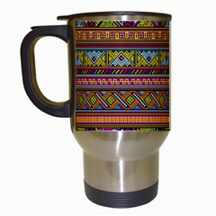Traditional Africa Border Wallpaper Pattern Colored 2 Travel Mugs (white) by EDDArt