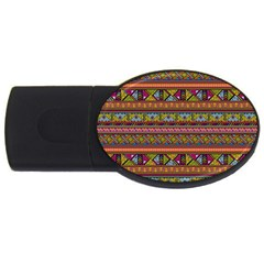 Traditional Africa Border Wallpaper Pattern Colored 2 Usb Flash Drive Oval (4 Gb) by EDDArt