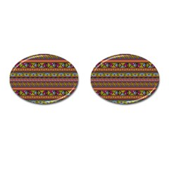 Traditional Africa Border Wallpaper Pattern Colored 2 Cufflinks (oval) by EDDArt