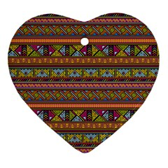 Traditional Africa Border Wallpaper Pattern Colored 2 Heart Ornament (two Sides) by EDDArt