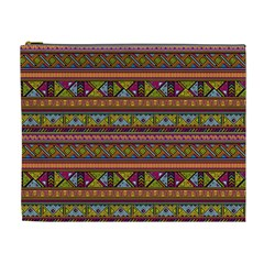 Traditional Africa Border Wallpaper Pattern Colored 2 Cosmetic Bag (xl) by EDDArt