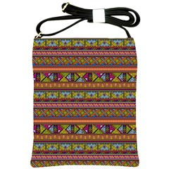 Traditional Africa Border Wallpaper Pattern Colored 2 Shoulder Sling Bags by EDDArt
